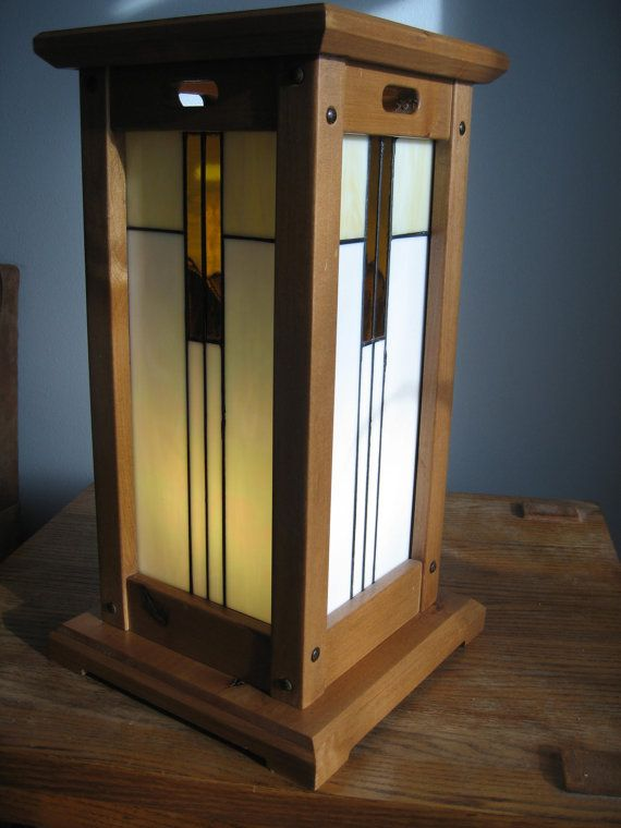 Mission style table lamp by countryartglass on etsy for Modern craftsman lighting