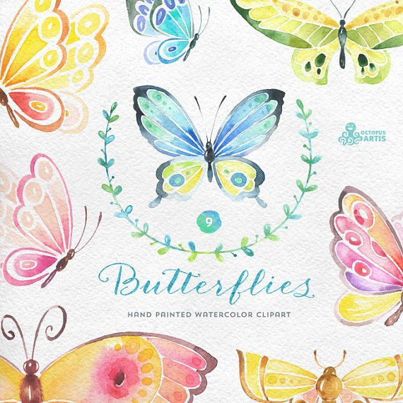 Butterflies Watercolor: 9 Separate hand painted clipart, diy elements, invitation, wedding, greetings, flowers, wings, digital butterfly