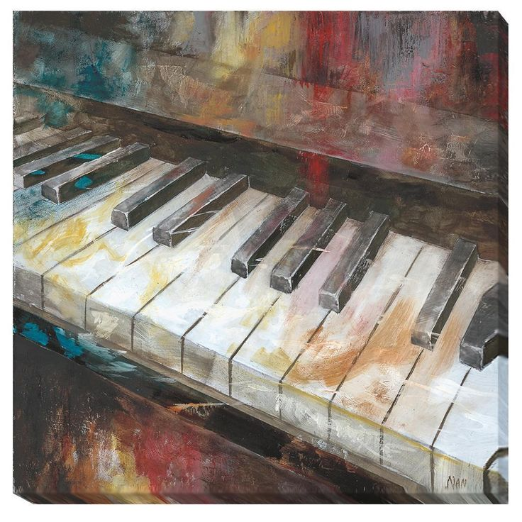 This edgy interpretation of the piano will add sophistication to a space. UV coated to prevent fading, this giclee is gallery wrapped around 1.5 inch deep stretcher bars. Artist: Nan Title: My Piano P