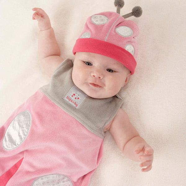 When cuteness, comfort and coziness count, this leaf-loving ladybug always comes through! Your new little lady will sleep safe and sound in our Snug As a Bug Ladybug Newborn Baby Snuggle Sack, and she'll look adorable doing it!