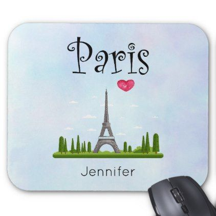 Heart Paris with Eiffel Tower Custom Mouse Pad - girly gift gifts ideas cyo diy special unique