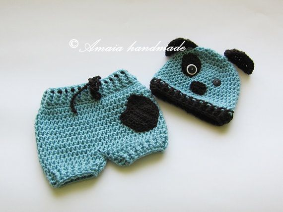 Crochet puppy outfit newborn photo propsbaby by Amaiahandmade
