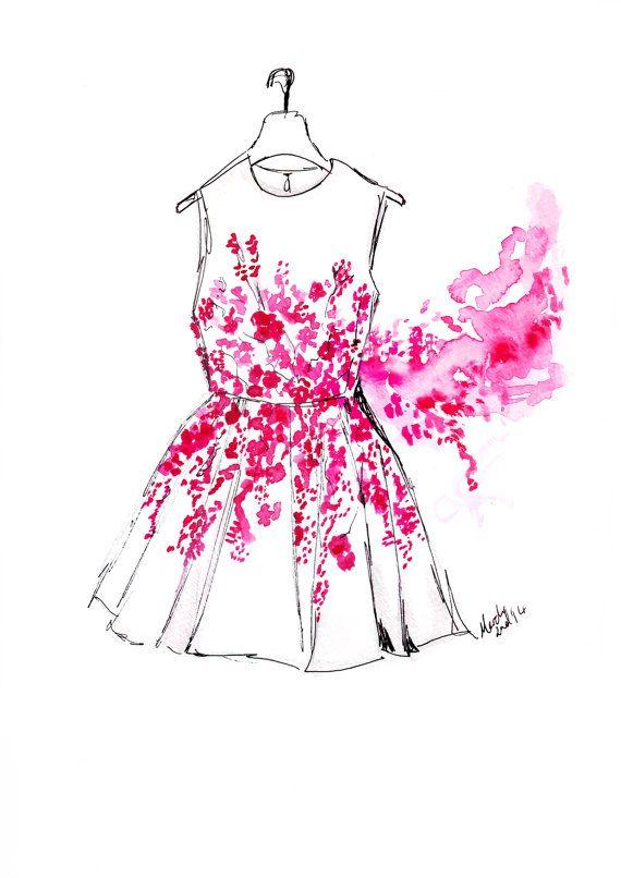 Illustration de mode aquarelle intitulée Cherry Blossom robe