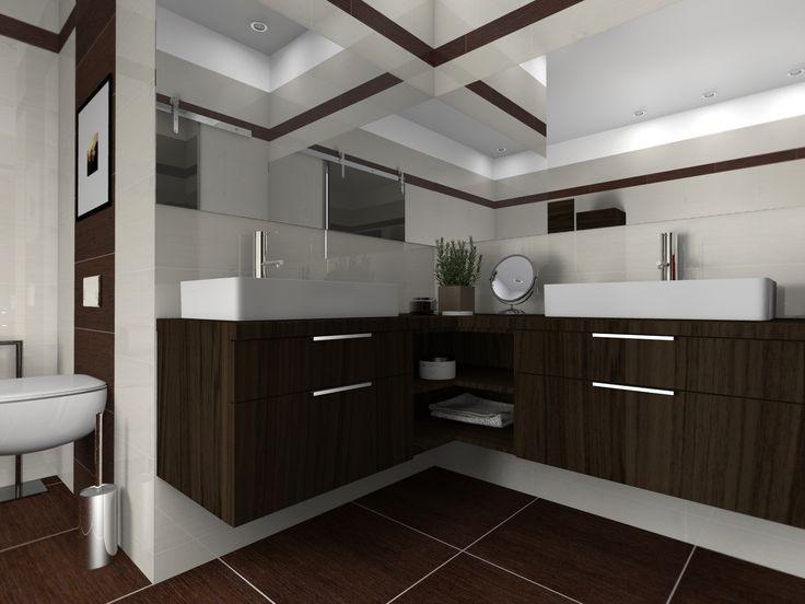Prostorná rodinná rohová koupelna? Žádný problém. Maximální využití prostoru s keramickými umyvadly na desku. Oblíbený dřevodekor krásně ladí se zbytkem koupelny.   Pro zákazníka z Českých Budějovic