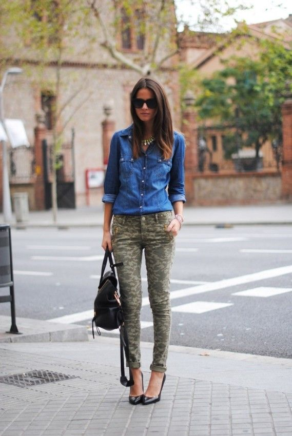 chambray + camo + statement necklace. I would opt for minimalist strappy heels in a neutral color.