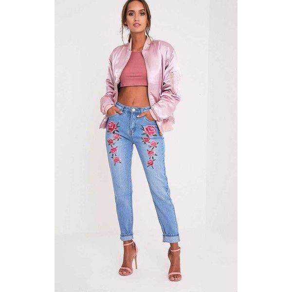 Mid Wash Embroidered Mom Jean ($37) ❤ liked on Polyvore featuring jeans, mid blue wash, loose fit jeans, floral jeans, applique jeans, floral print jeans and flower print jeans