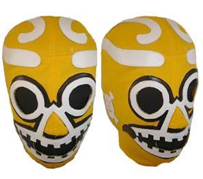 eLucha - Custom Wrestling Gear - Masks - Baggy Shorts - Baggy Pants - Long Tignts - Hoodies, Jackets, Tops - Vest - Bicker Shorts - Full Sets - Custom work - Apocalipsis Yellow wrestling Mask