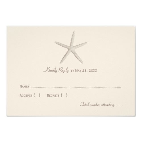 Destination Wedding RSVP Wedding Reply Card 1 | Neutral Starfish