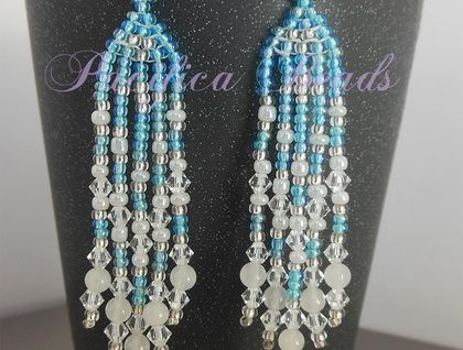 Turquoise blue beaded earrings- long fringe