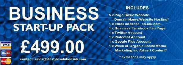 Business Start Up Package - Website Design/Social Media Profile Set Up & 1 Week Social Media Marketing Including Advert Content Creation