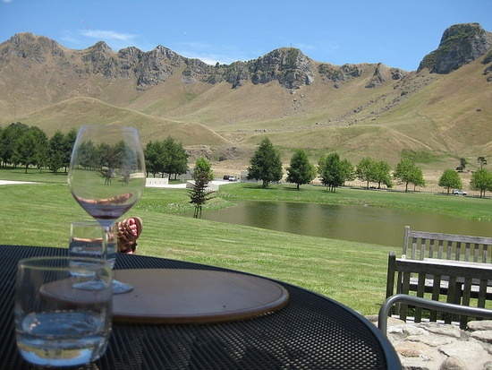 Looking up at the Peak from Craggy Range Winery - a toast to Te Mata Peak, Hawke's Bay!