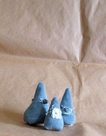 Fabric Tree Set  Grey.Minimalist Holidays . Decoration.  Stamp with lace .Christmas Tree Dolls  house. Miniature