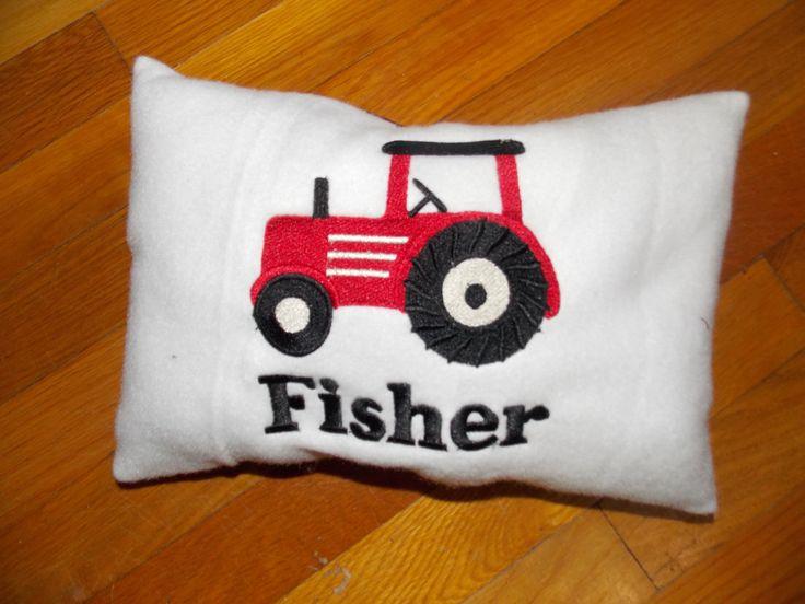 Personalized Tractor Pillow, Travel Pillow, Farm Nursery, Tractor Nursery, Farm Baby Shower, Farm Decor, Farm Birthday, Tractor Decor by Crafting4Caleb on Etsy https://www.etsy.com/listing/213294725/personalized-tractor-pillow-travel