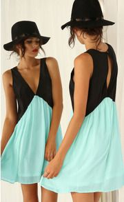 Black Green Deep V Neck Hollow Chiffon Dress