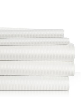 Woven Stripe Bed Sheets Similar to Sheets Found in Many Hilton Ž Hotels - Queen Size Sheet Set - Brilliant White