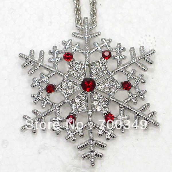 12 piece/lot прозрачный и красный кристалл горный хрусталь снежинка ожерелья с подвеской свадьба цветок ювелирные изделия F387 C1