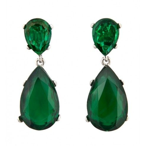 "Kenneth Jay Lane ""Angelina"" Rhodium Plated Emerald Crystal Earrings at aquaruby.com"
