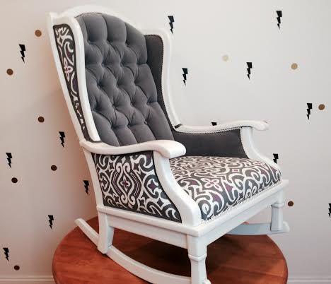 Rocking Chair Josephine Rocker ..... Handmade Rocking Chair In Tufted Gray  Velvet, Graywash Wood And Floral Print Seat