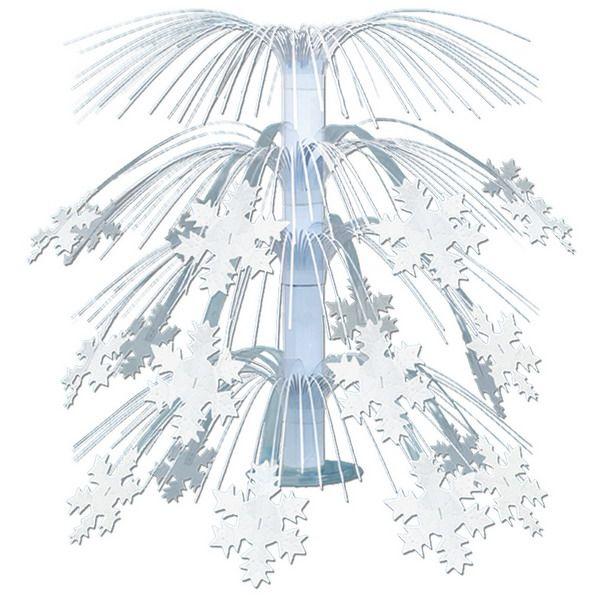 Een prachtige tafeldecoratie met sneeuwvlokken. Schitterend voor op tafel bij elk winter themafeest. <br>Hoogte: 18.75 cm. foto 1