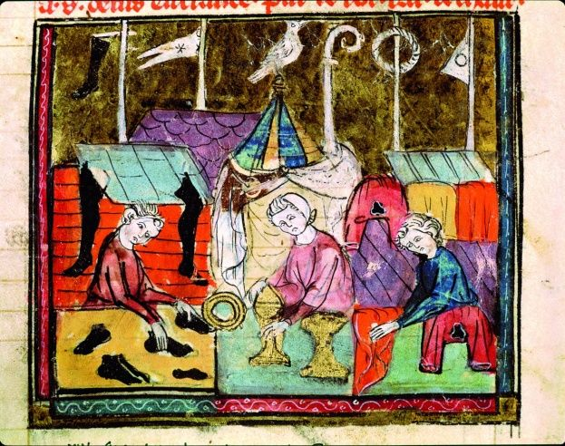 Merchants at work at the annual Lendit Fair, which was held near St Denis, Paris each June from the 12th century - Credit Bridgeman Art Library