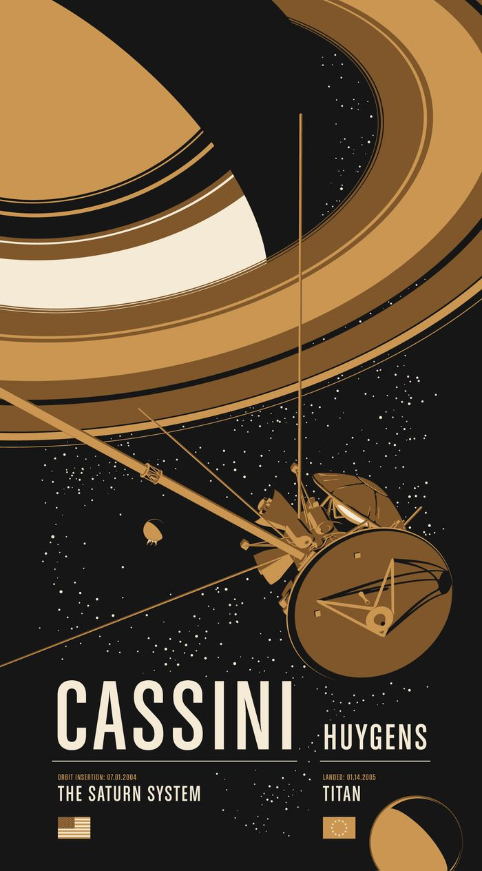 Poster 2 cassini huygens available as a limited edition 20x36 screen print