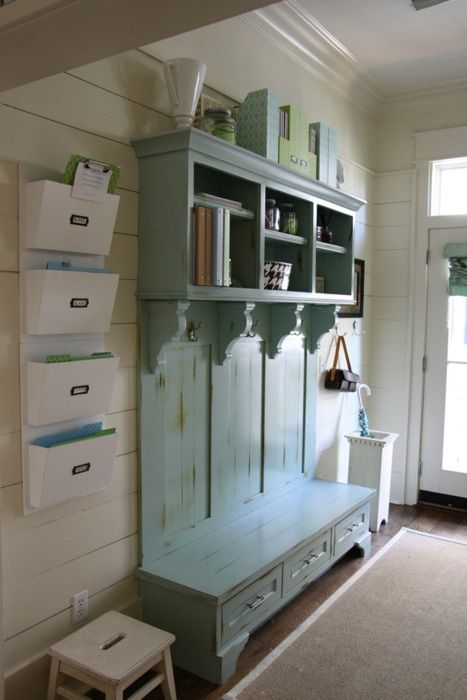 Love the hanging file organizer on the left. Perfect for the entryway of the house.