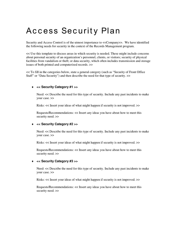 Records Access Security Plan Use the Records Access Security – Security Plan Template