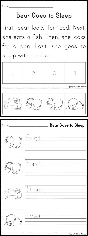 Hibernating Animals ~ Sequencing Story and Writing Activity