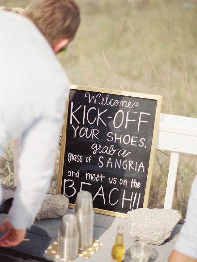 Such a cute idea! http://www.stylemepretty.com/2015/07/16/intimate-beachside-spring-wedding-on-fripp-island/ | Photography: Shannon Duggan - http://shdphotography.com/