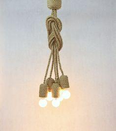Mucho yute cuerda lámpara 200cm 80 colgante de luz por StyLova