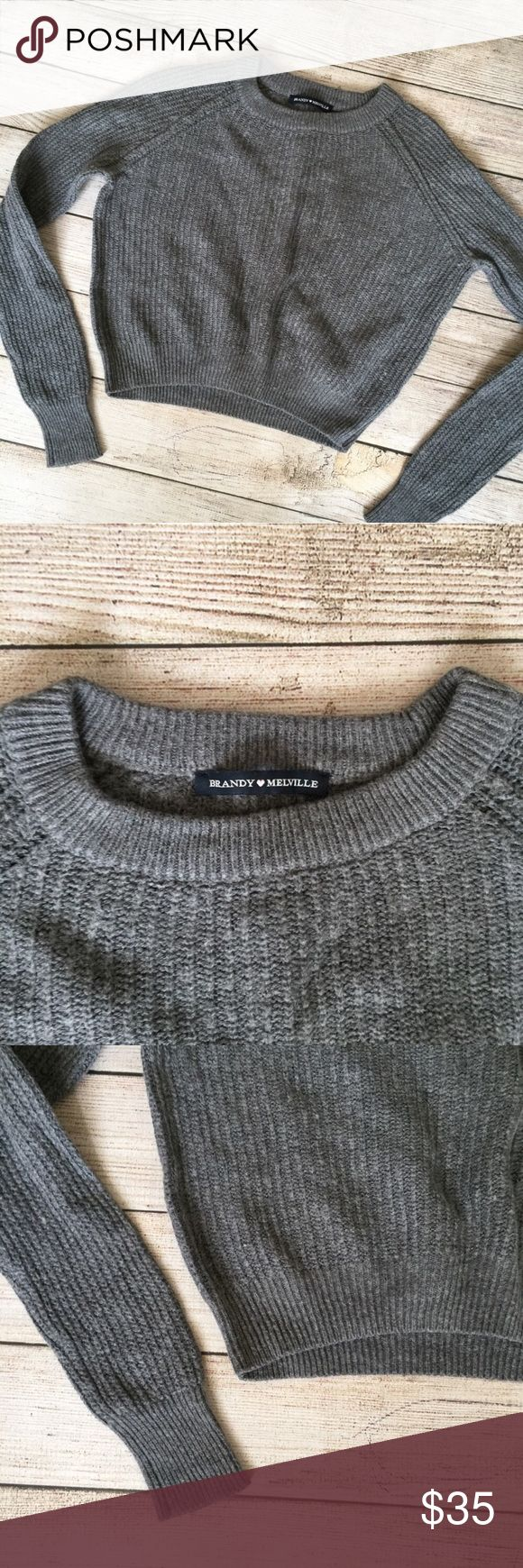 Brandy Melville Gray Cropped Sweater Ribbed throughout. Long sleeves. Gently worn, but still in great condition 🚫NO TRADES/NO MODELING🚫✅BUNDLE TO SAVE✅ Brandy Melville Sweaters