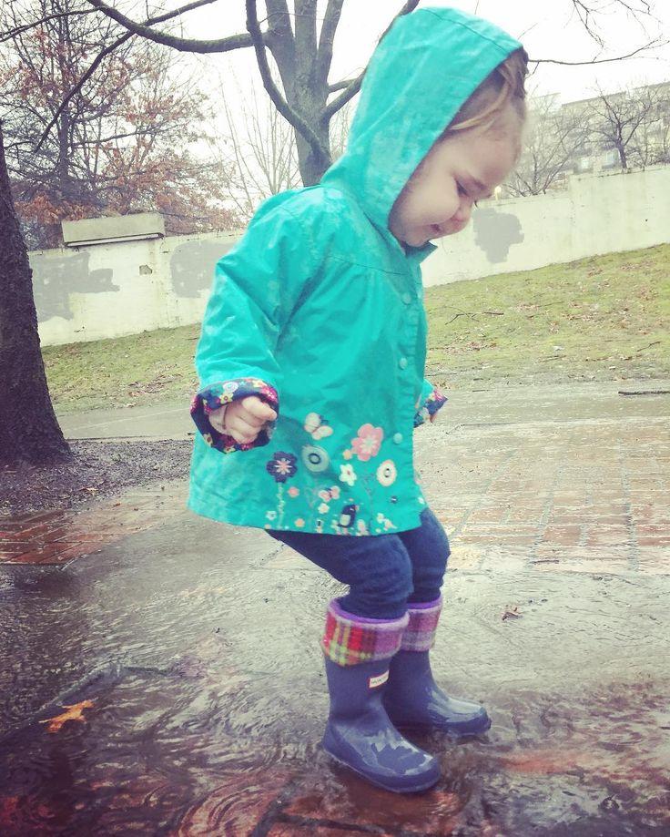 Rain day toddler style. Little Hunter Boots & kids size SLUGS Fleece Rain Boot Liners.