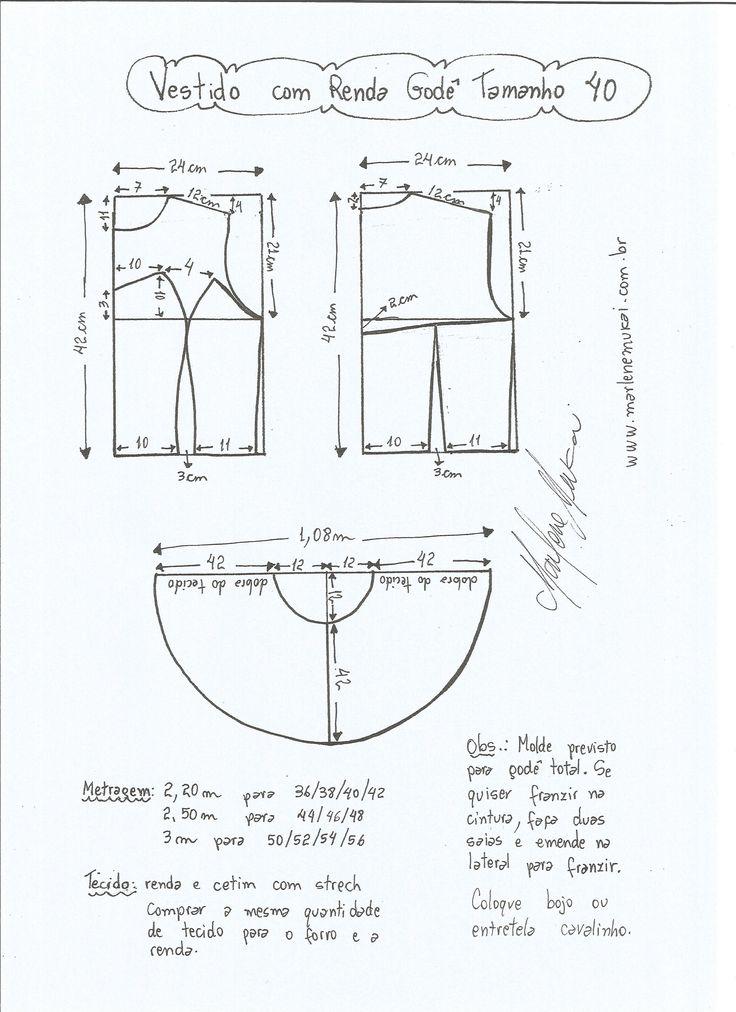 Esquema de modelagem de vestido com renda godê tamanho 40.