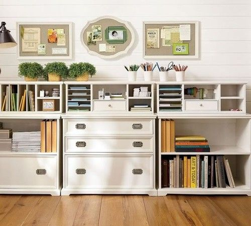 white cottage office organization