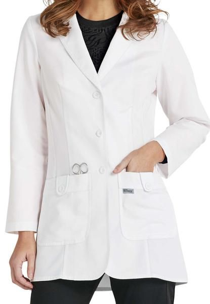 """Grey's Anatomy 2 Pocket Fitted Lab Coat With Tab Button Pocket Detail, Button Tab Back - 32"""" Inseam.  60% Cotton / 40% Poly  Peached Twill. Fit: Missy XS-3XL"""