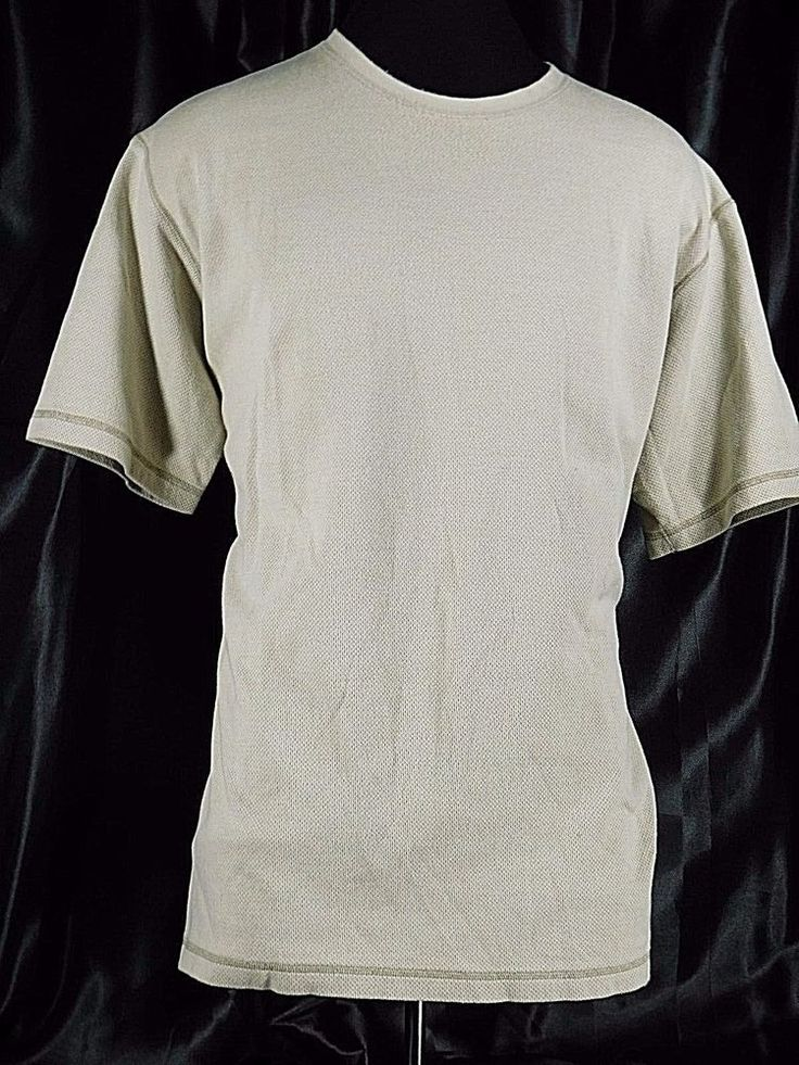 Men's Size XL COLUMBIA Light Tan Shirt Crew Neck Woven Cotton Athletic Wear #Columbia #Athletic