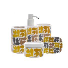 Orla Kiely Acorn design bathroom accessories, from Heal's