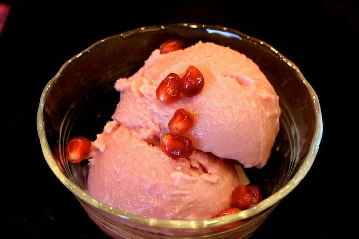 ... desserts pomegranates sorbet an ice cream ice cream maker glass dishes