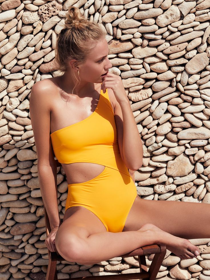 Claudia One Piece Swimsuit   In a one-shoulder silhouette this one-piece swimsuit features a wraparound side cutout.    * Pull-on style   * Lined
