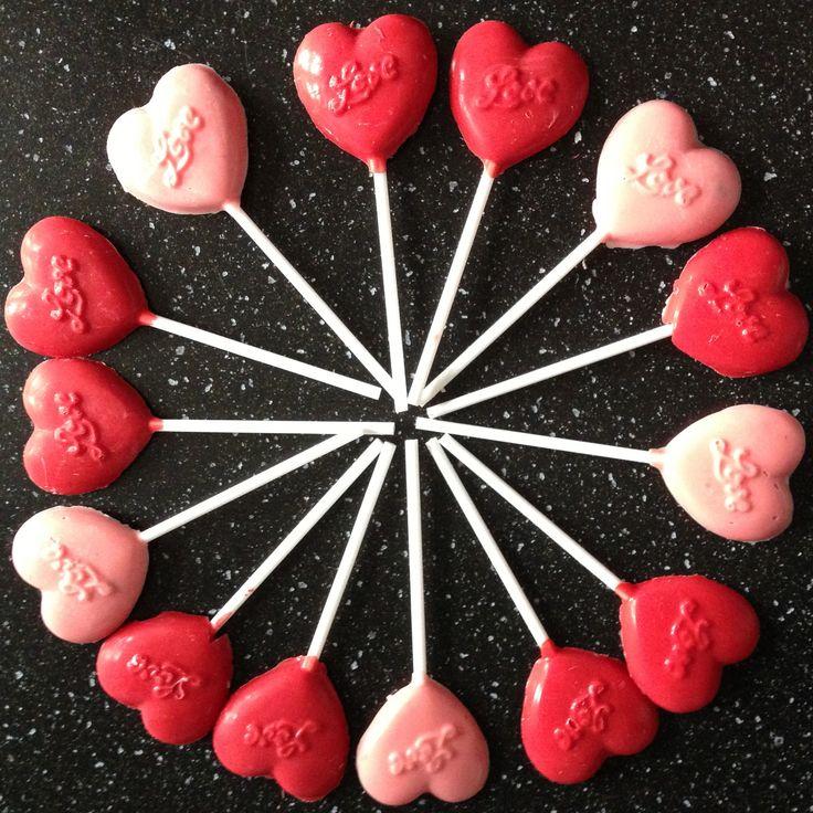 Vanilla chocolate love heart lollipops