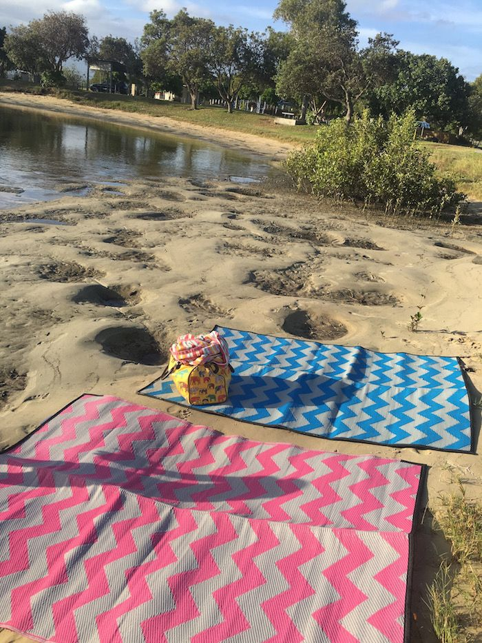 Caravan Mats -Chevron Pink Blue. Eco-friendly picnic mats made from recycled plastic. Authentic Indigenous Designs created by local artists from Australia, Torres Strait Islands, New Zealand, and the Pacific Islands.  See the full range at www.recycledmats.com.au