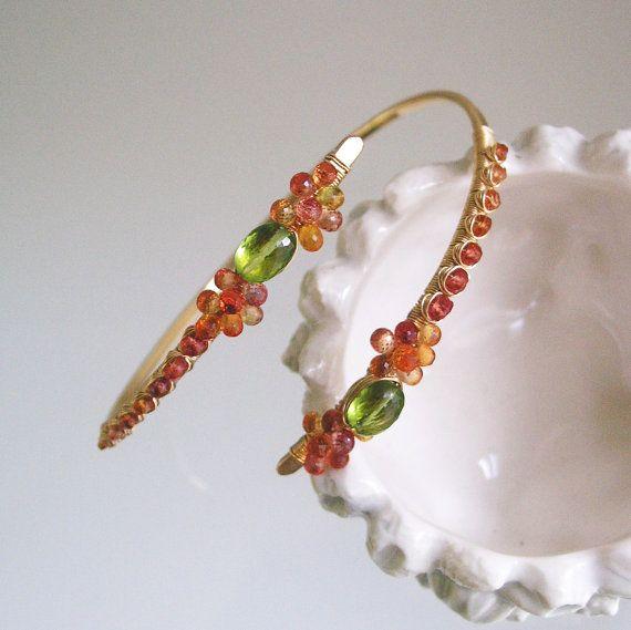 Sapphire Gold Bangle, Wire Wrapped Peridot Bracelet, Fiery Orange Artisan Made Bracelet, Vibrant Jewelry, Stackable, Original Design