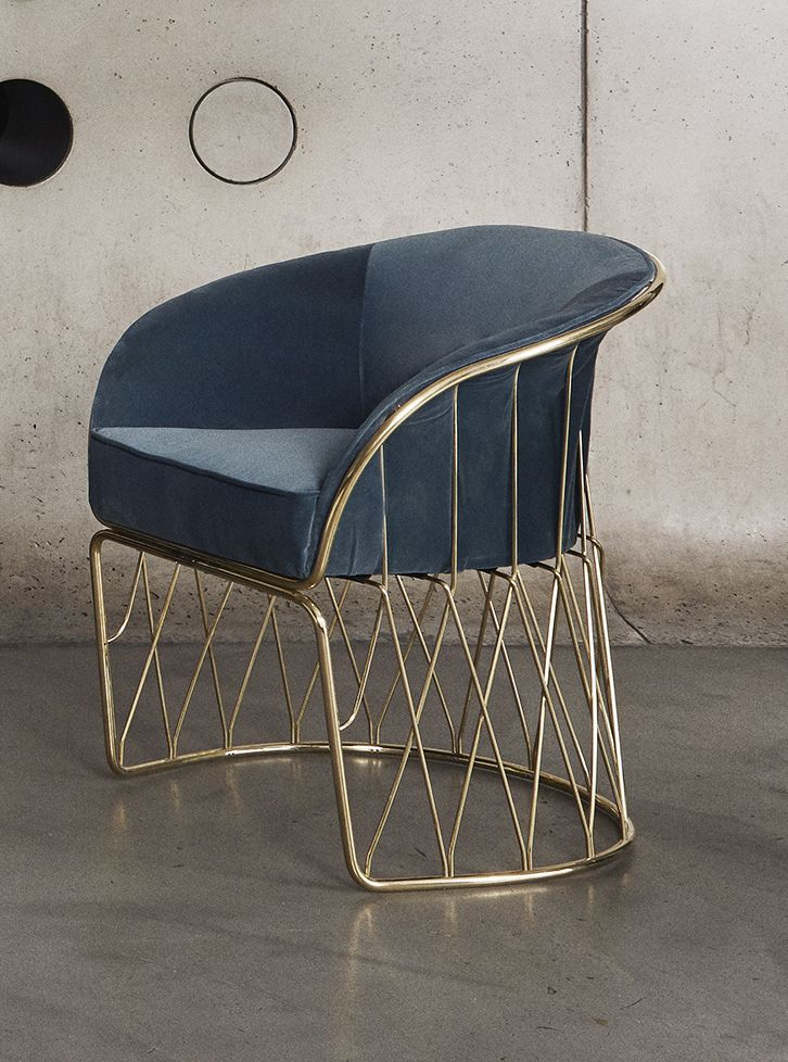 MODERN CHAIR | A blue chair with brass structure  |www.bocadolobo.com/ #modernchairs #luxuryfurniture #chairsideas