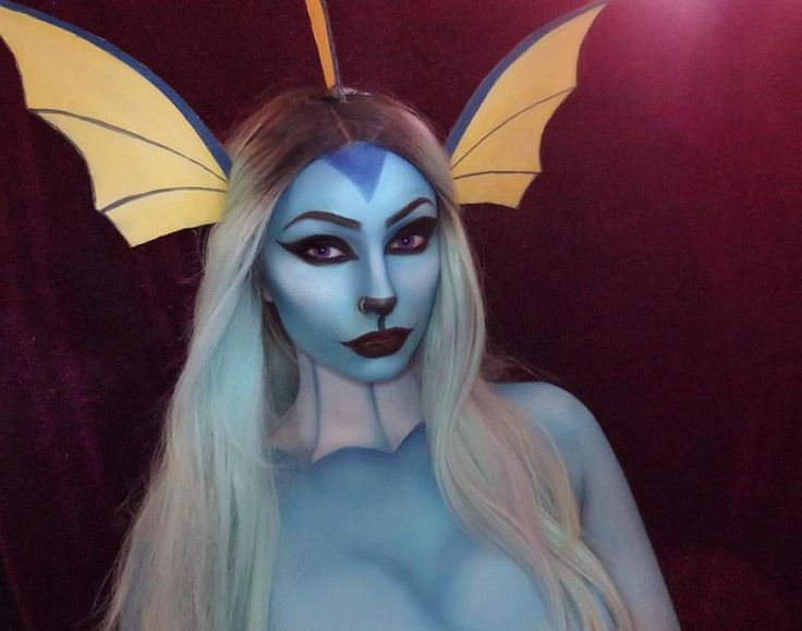 Want to be Vaporeon this Halloween? Use this makeup tutorial for an awesome Pokemon Halloween costume.