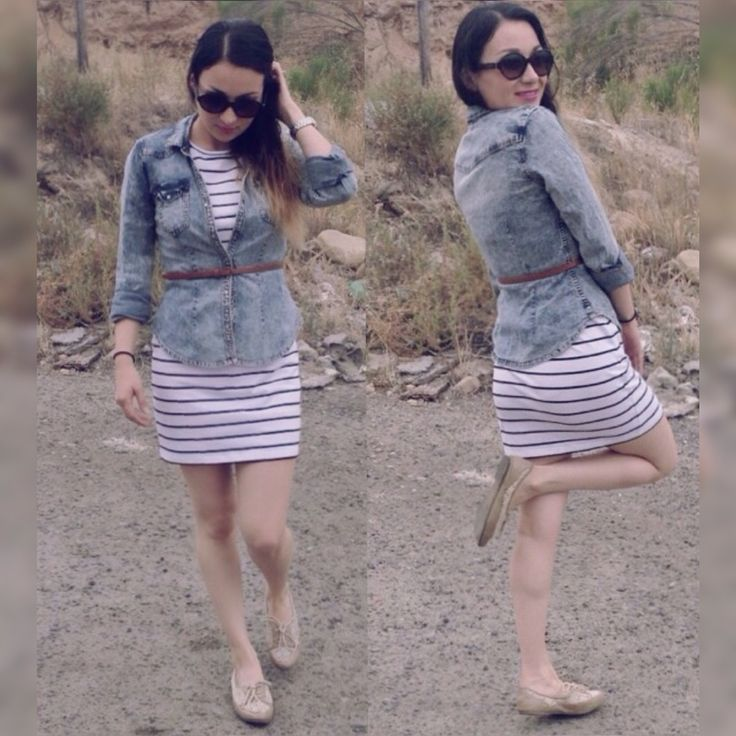#OOTD vestidos de rayas de @sheinside blusa de @hm zapatos @stevemadden cinto @forever21 outfit perfecto para un domingo de verano #fashion #style www.youtube.com/luzischic