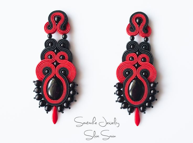 Black and Red Soutache earrings