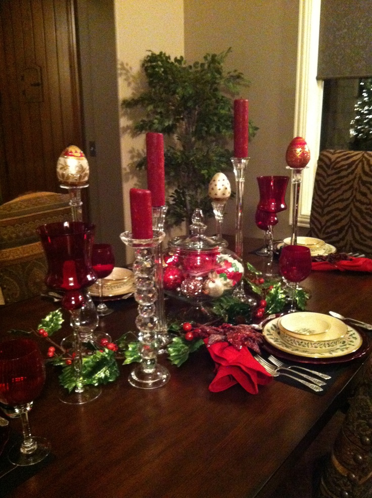 Holiday Table Set For Dinner Home For The Holidays