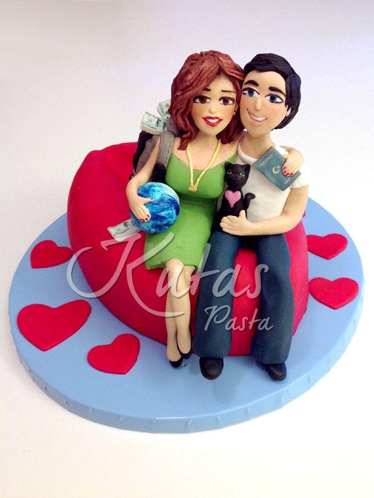 Sevgililer Günü Pastası - Couple and Traveler Cake - Seyahat ve Aşıklar Pasta