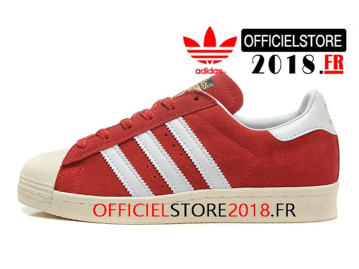 best sneakers 96483 1daf4 ... Adidas Homme Chaussures Originals Superstar 80s DLX Suede Prix Pas Cher  Rouge Blanc B25962-B25962 ...