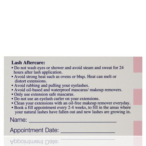 Lash after care card